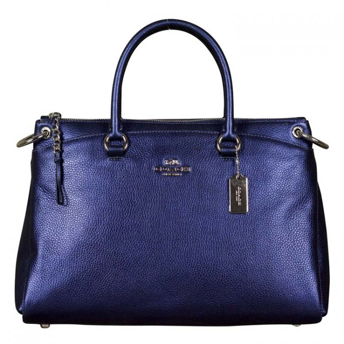 Coach Leather Mia Satchel in Metallic Blue on sale at Luxe Purses