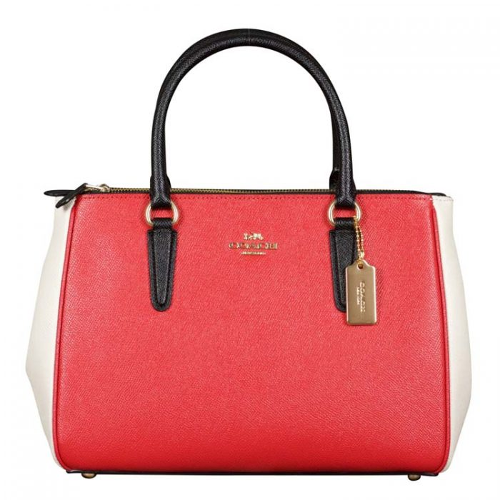 Coach Colorblock Surrey Carryall in Bright Red Multi at Luxe Purses