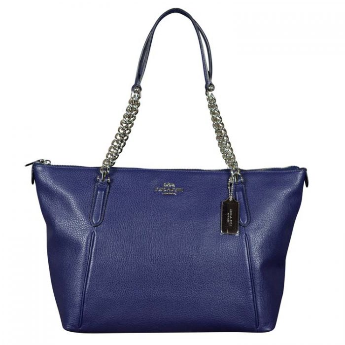 Coach Leather Ava Chain Tote in Cadet at Luxe Purses
