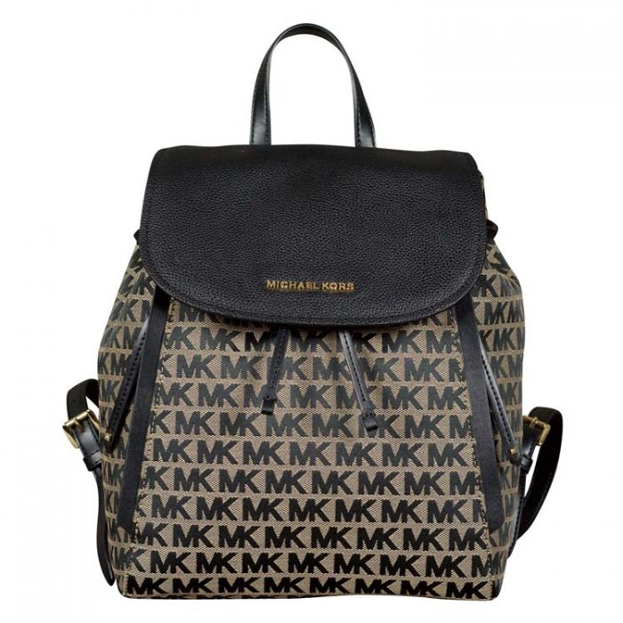 Michael Kors Evie Backpack in Beige Black for sale at Luxe Purses