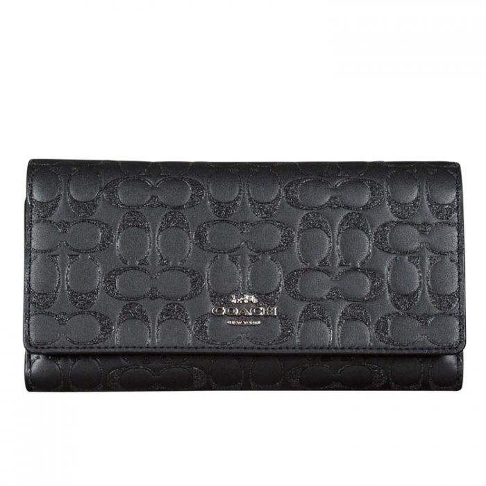 Coach Glitter Signature Leather Trifold Wallet in Black