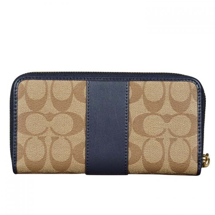 Coach Signature Zip Wallet in Khaki Midnight