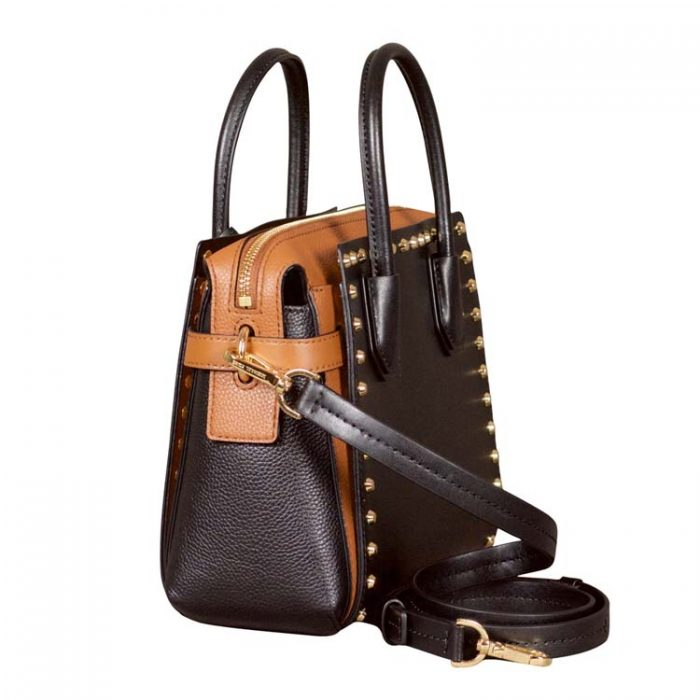 Michael Kors Small Mercer Belted Satchel in Black Luggage