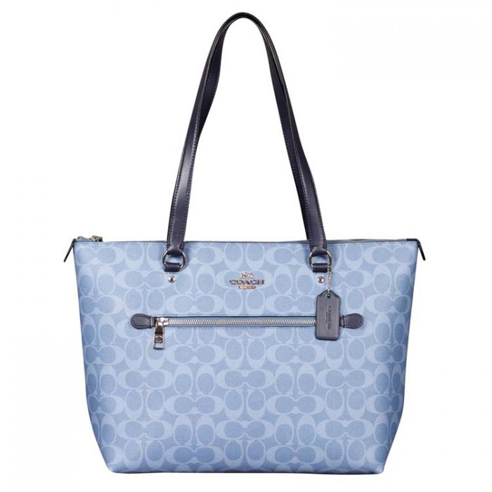 Coach Signature Gallery Tote in Light Denim Midnight