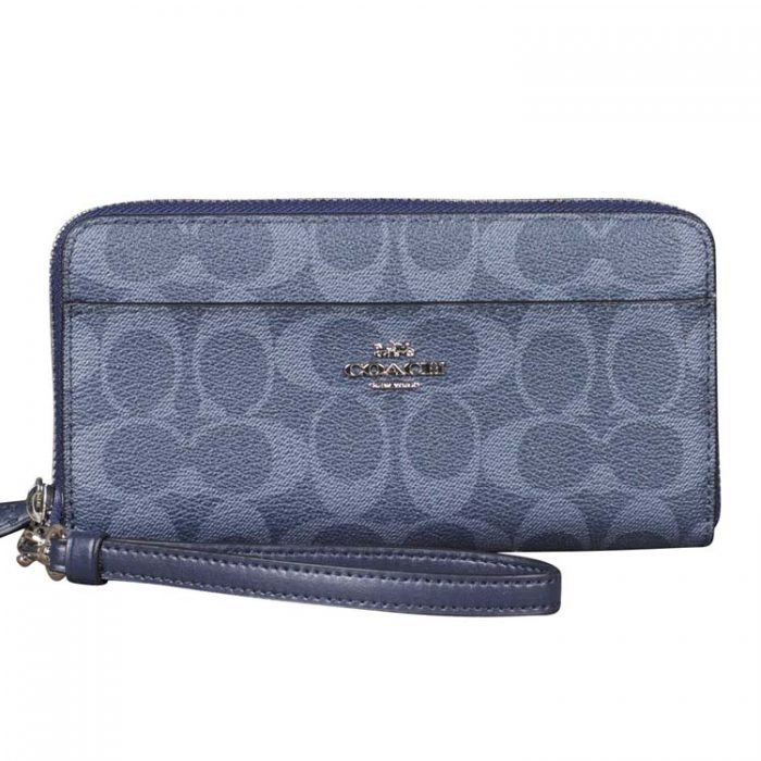 Coach Signature Zip Wristlet in Denim Midnight