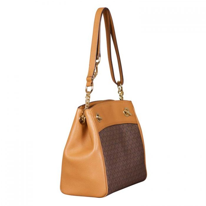 Michael Kors Medium Chain Convertible Tote in Brown Acorn