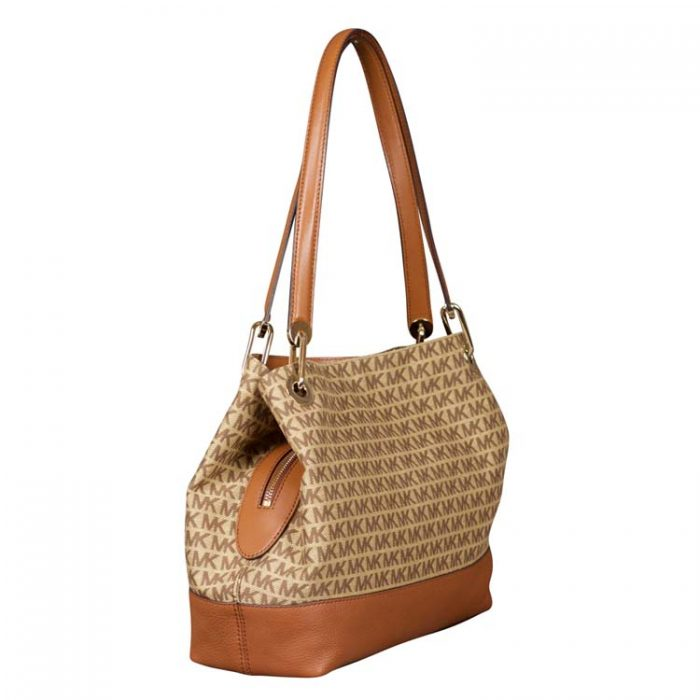 Michael Kors Large Raven Shoulder Tote in Beige Ebony
