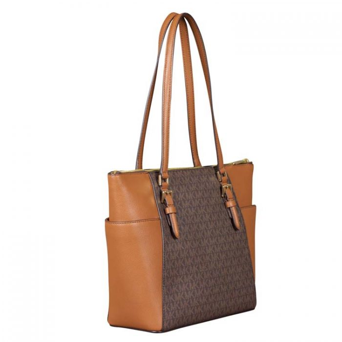 Michael Kors Large Charlotte Top Zip Tote in Brown