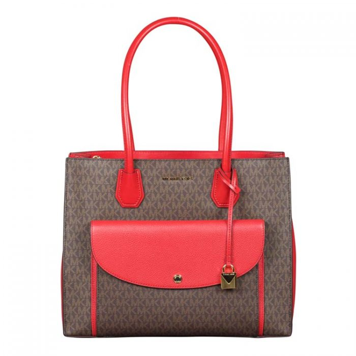 Michael Kors XL Mercer Pocket Tote in Brown Bright Red