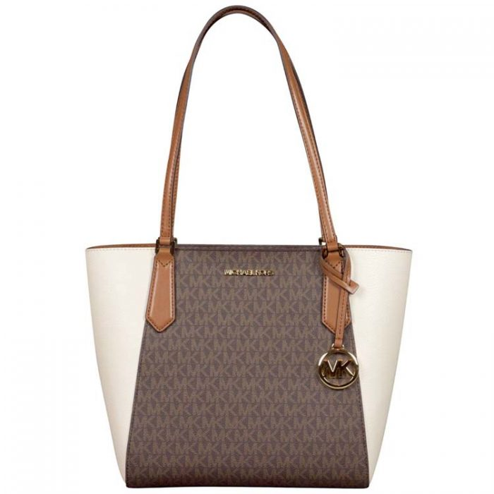 Michael Kors Small Kimberly Bonded Tote in Light Cream