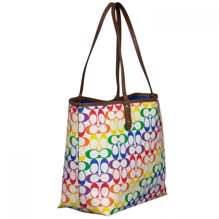 Coach Signature Rainbow Reversible City Tote for sale at Luxe Purses