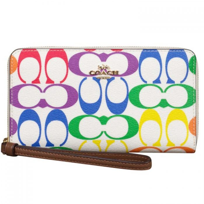 Coach Signature Rainbow Large Phone Wallet for sale at Luxe Purses