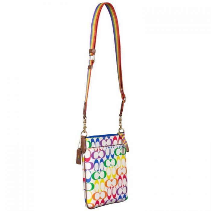 Coach Signature Rainbow Jes Slim Crossbody Bag for sale at Luxe Purses