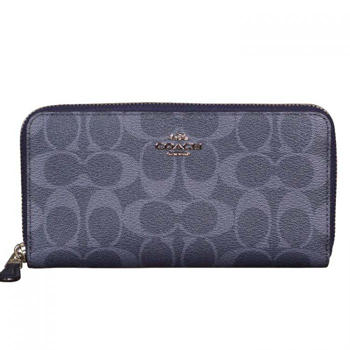 Coach Signature Zip Wallet in Denim Midnight