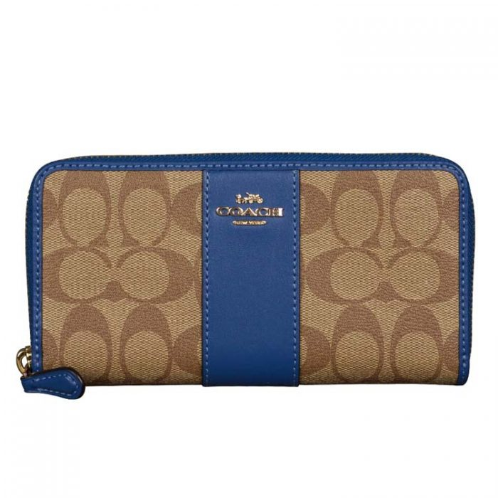 Coach Signature Zip Wallet in Khaki Deep Atlantic