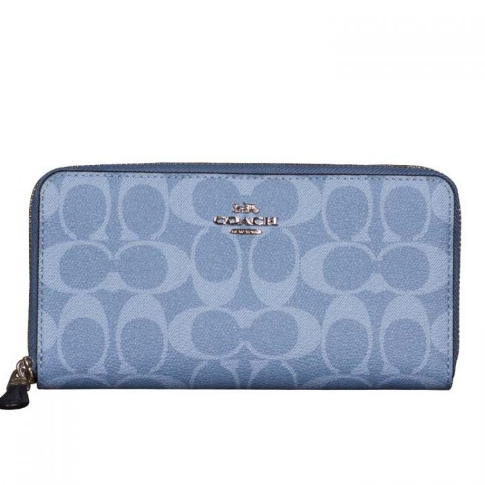 Coach Signature Zip Wallet in Light Denim