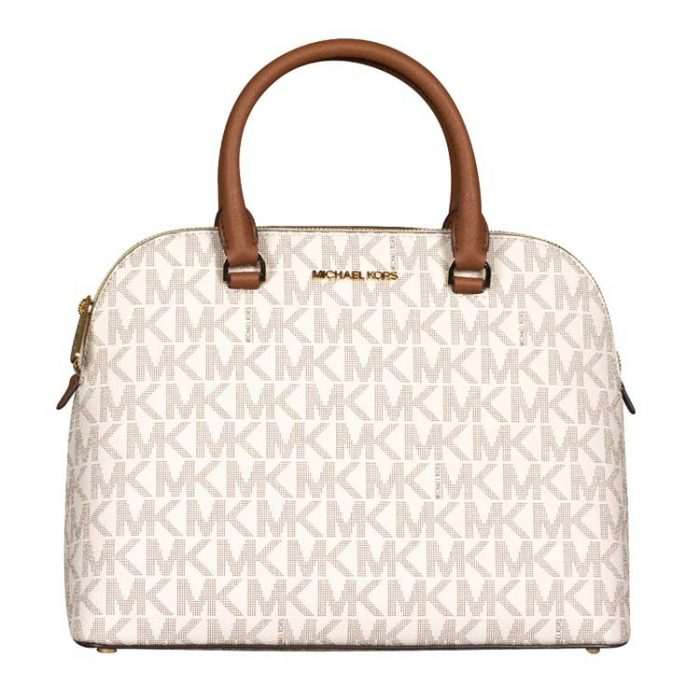 Michael Kors Large Cindy Dome Satchel in Vanilla