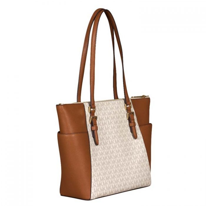 Michael Kors Large Charlotte Top Zip Tote in Vanilla