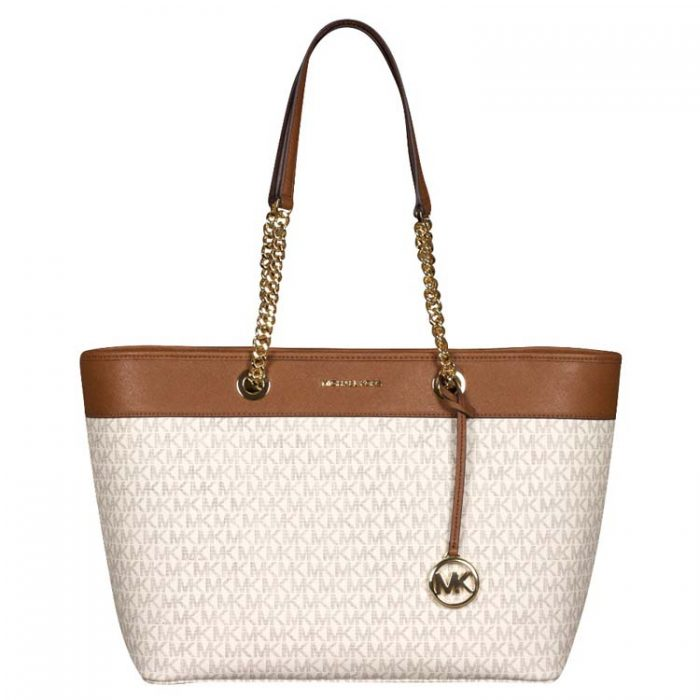 Michael Kors Large Shania EW Chain Tote in Vanilla