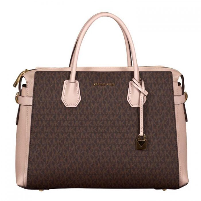 Michael Kors Large Mercer Belted Satchel in Brown Soft Pink
