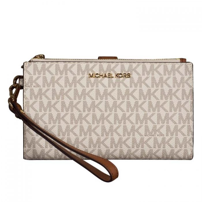 Michael Kors Double Zip Wristlet in Vanilla