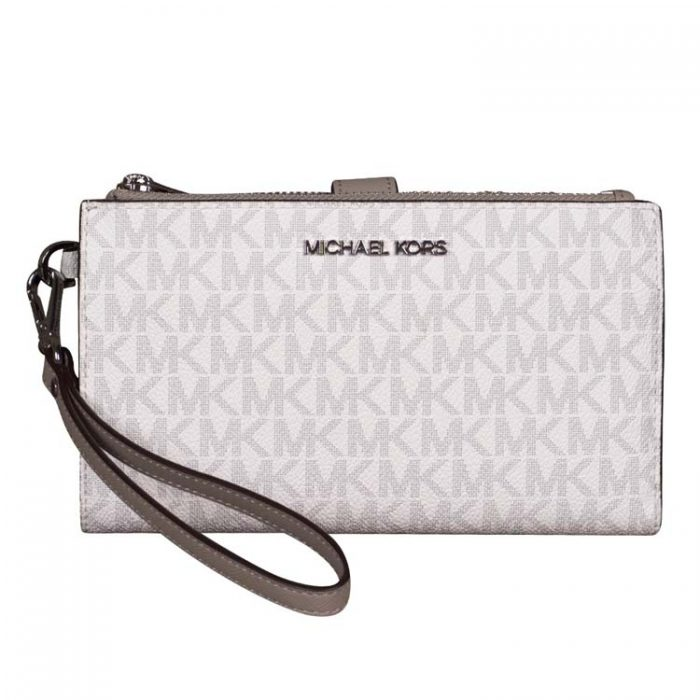 Michael Kors Double Zip Wristlet in Bright White