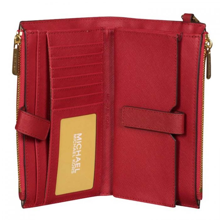 Michael Kors Double Zip Wristlet in Scarlet