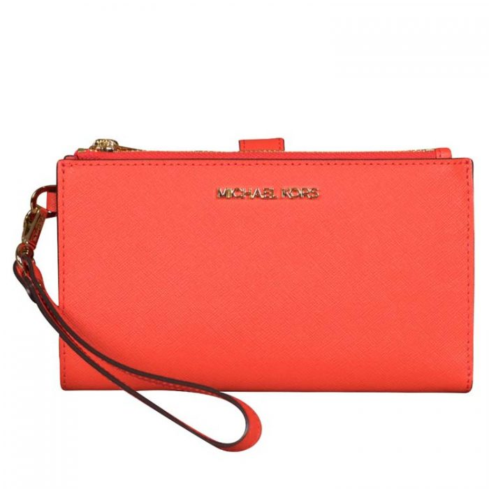 Michael Kors Double Zip Wristlet in Mandarin