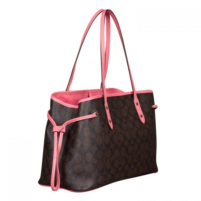 Coach PVC Drawstring Carryall in Brown Pink Lemonade