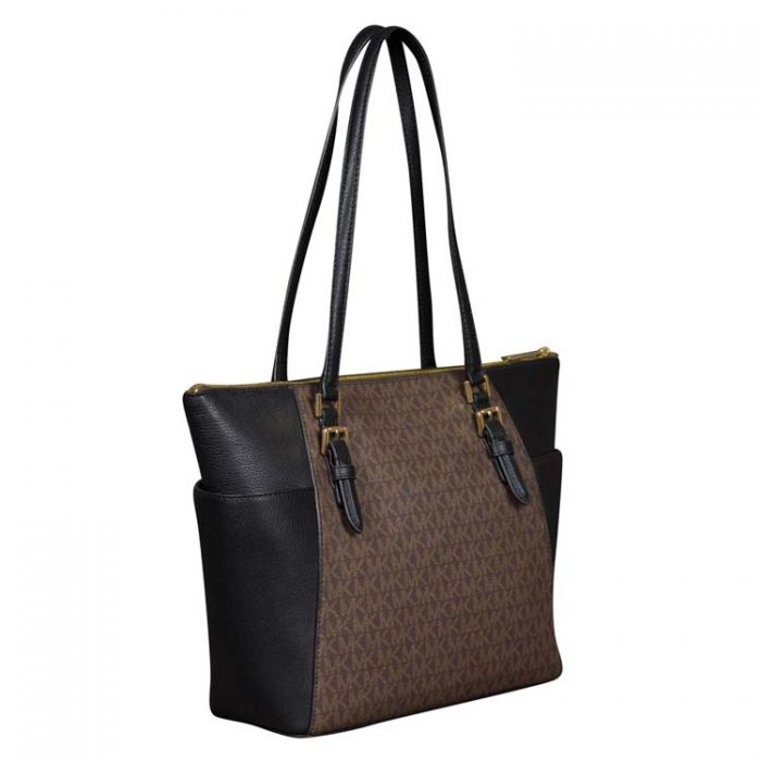 Michael Kors Large Charlotte Top Zip Tote in Brown Black