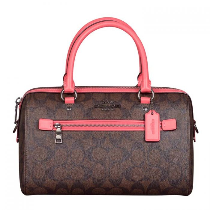 Coach Signature Rowan Satchel in Brown Pink Lemonade