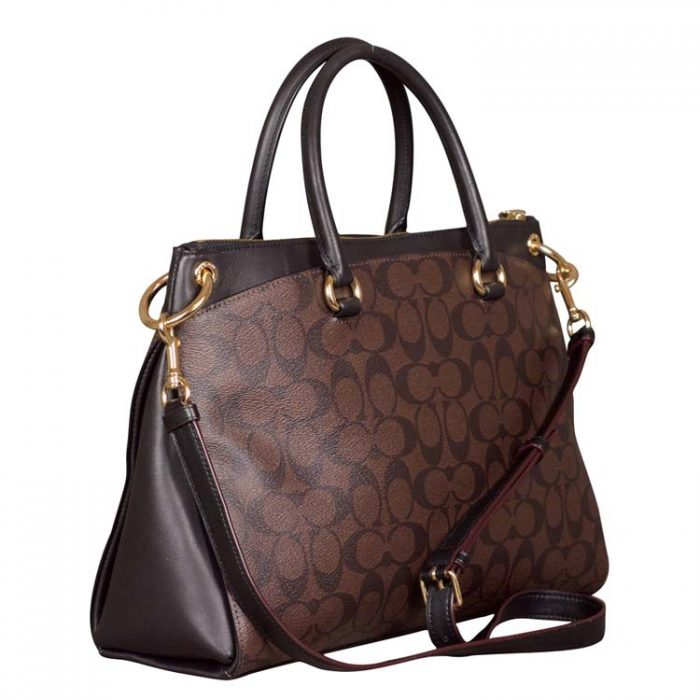 Coach Signature Mia Satchel in Brown Black