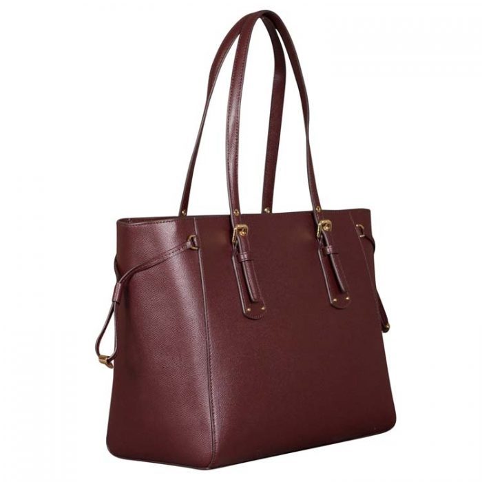 Michael Kors Leather Voyager Top Zip Tote in Barolo