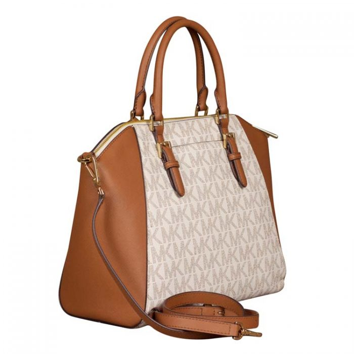 Michael Kors Large Ciara Top Zip Satchel in Vanilla
