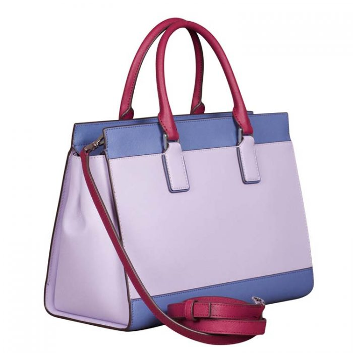 Kate Spade Large Cameron Satchel in Lilac Blue Maroon