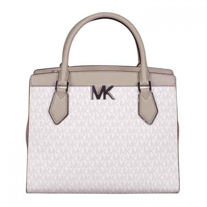 Michael Kors Large Mott Satchel in Bright White
