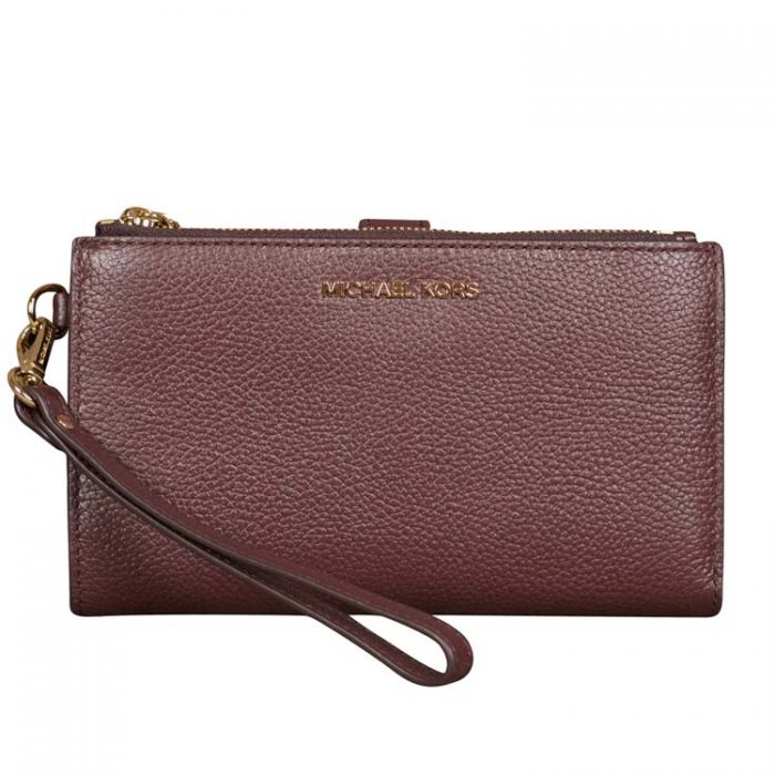 Michael Kors Double Zip Wristlet in Barolo