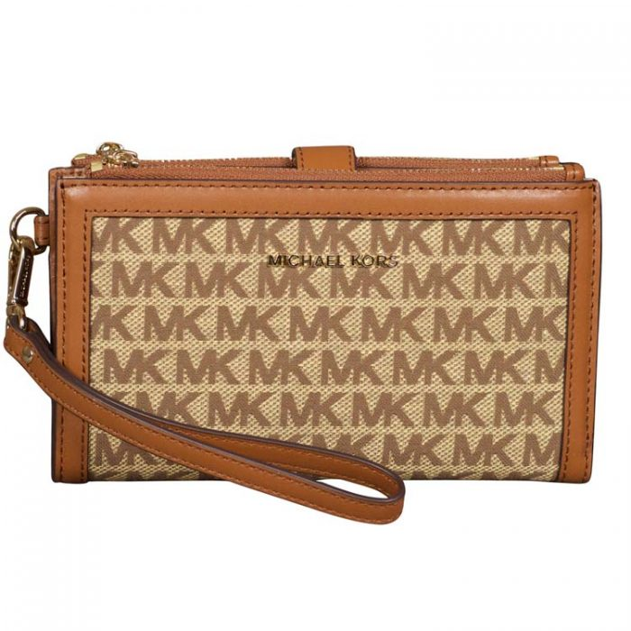 Michael Kors Double Zip Wristlet in Beige Ebony