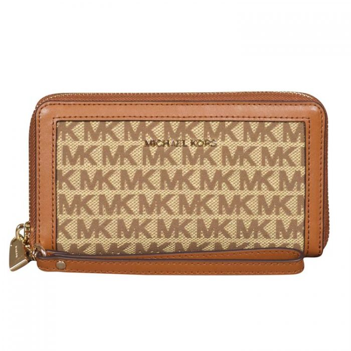 Michael Kors Large MF Phone Case in Beige Ebony