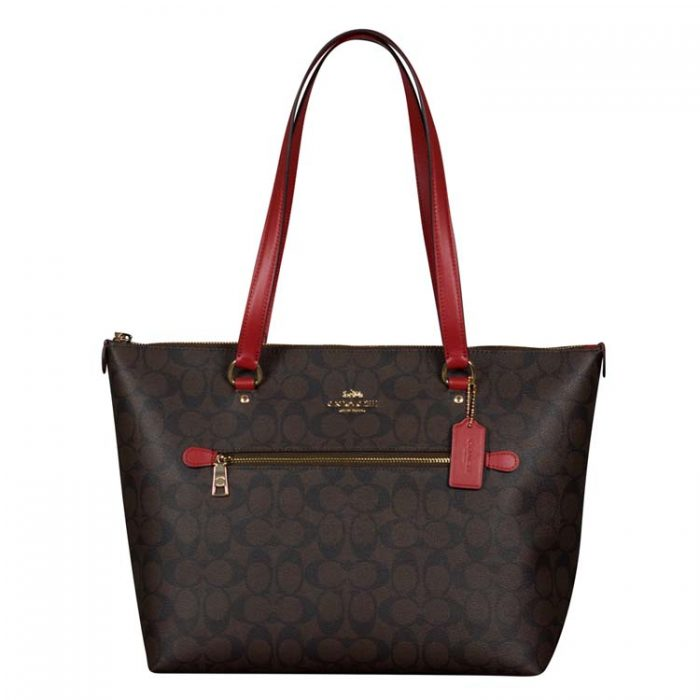 Coach Signature Gallery Tote in Brown Red