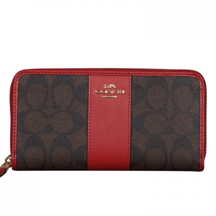 Coach Signature Zip Wallet in Brown 1941 Red