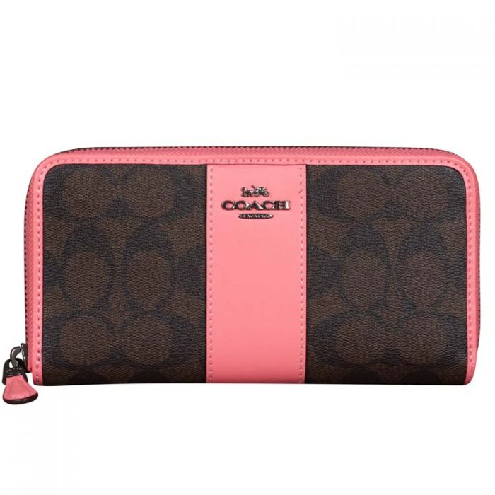 Coach Signature Zip Wallet in Brown Pink Lemonade