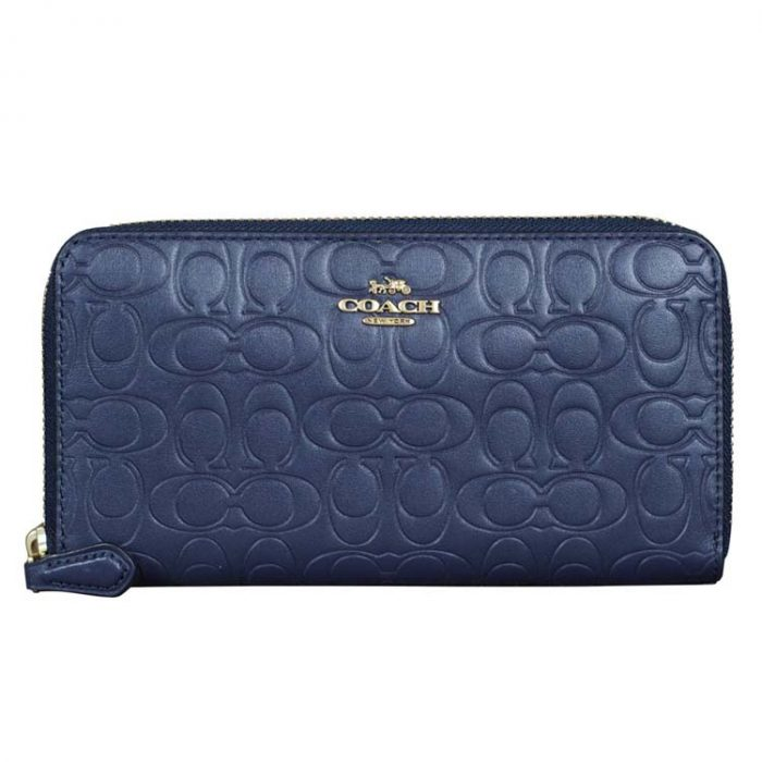 Coach Signature Leather Zip Wallet in Midnight Navy