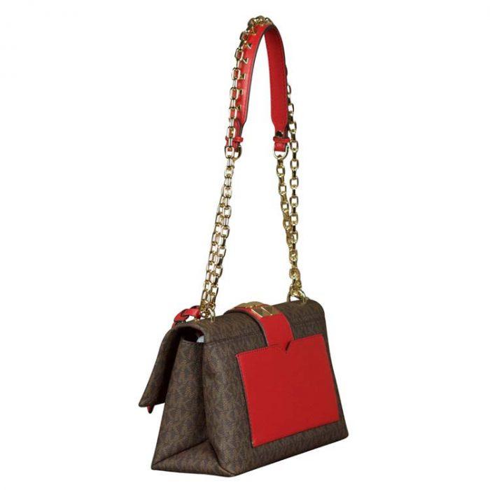 Michael Kors Medium Cece Shoulder Bag in Brown Bright Red