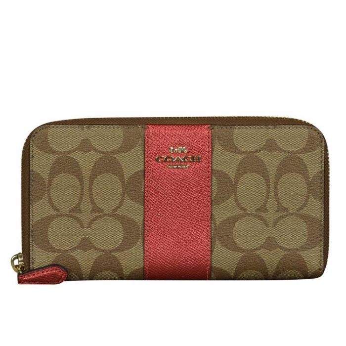 Coach Signature Zip Wallet in Khaki Metallic Clay