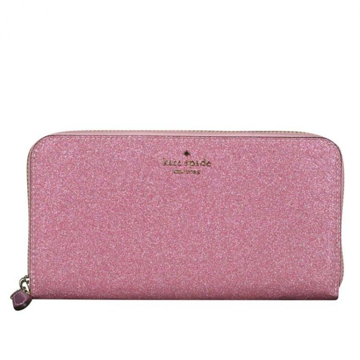 Kate Spade Lola Glitter Continental Wallet in Rose Pink