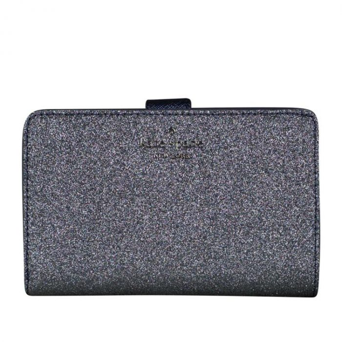 Kate Spade Lola Glitter Compact Wallet in Dusk Navy for sale at Luxe Purses