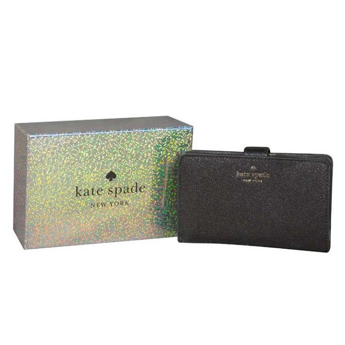 Kate Spade Lola Glitter Compact Wallet in Black for sale at Luxe Purses