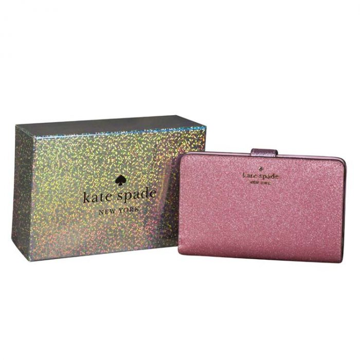 Kate Spade Lola Glitter Compact Wallet in Rose Pink for sale at Luxe Purses
