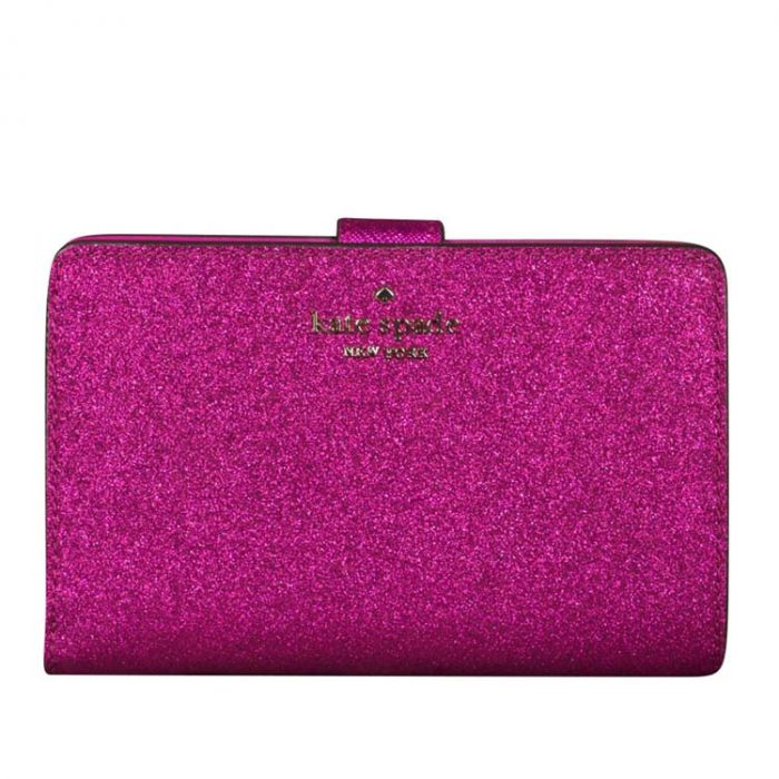 Kate Spade Lola Glitter Compact Wallet in Convertible Pink for sale at Luxe Purses